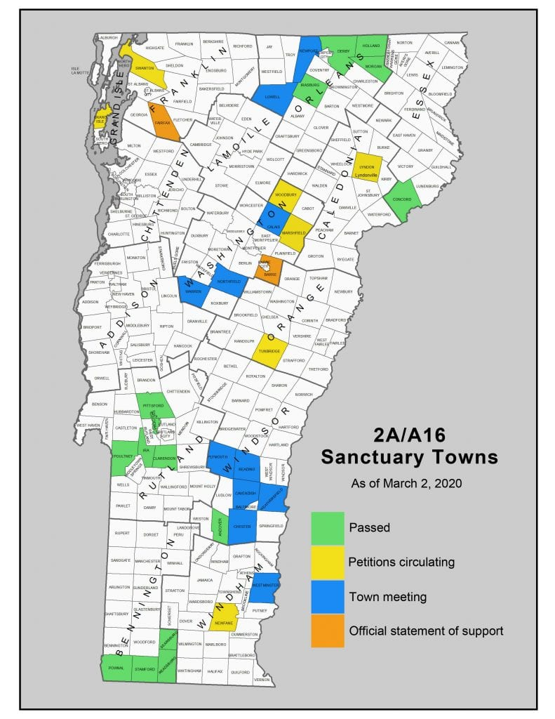 Vermont 2A/A16 Sanctuary Towns as of March 2, 2020